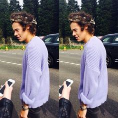 Harry Styles in his lilac sweater.
