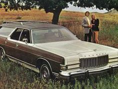 Faux wood-paneled cars like this Lincoln-Mercury Colony Park model was a popular skeuomorphic design in the late 1960s