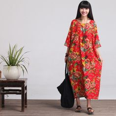 Casual Loose Print Cotton Linen Dress - BUYINDRESS