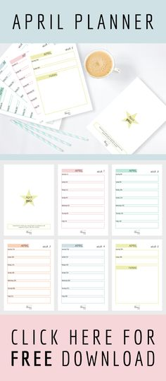 Free printable 6 page April 2017 planner. Including a front page to brainstorm your goals for the month ahead.