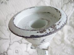 Metal Candle Holder Hand Painted White Cottage by upcyclesisters, $19.00