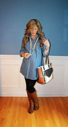 Outfitted411: Chambray Maternity... maternity fashion leggings boots pearls