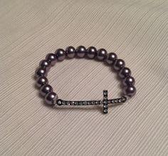 Beaded Cross Rhinestone Bracelet by boilerchic on Etsy