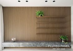 Create clean, crisp, continuous channels and shadow lines with Fluted Panel. This innovative and sophisticated product come in 3 different wood melamine finish (Oak, Walnut and Wenge ).Material made of WPC ( wood plastic composite ). Wood Panel Walls, Wood Paneling, Slat Wall, Wood Wall, Stripped Wall, Timber Slats, Oak Panels, Wood Interiors, Built In Shelves