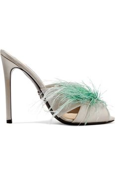 Heel measures approximately 115mm/ 4.5 inches Silver satin, mint feathers (Ostrich, Turkey) Slip on Ostrich: South Africa Made in Italy