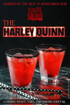 All Mommy Wants Suicide Squad Inspired Cocktail - The Harley Quinn cocktails Drinks Recipes Suicide Squad Warner Bros Liquor Drinks, Cocktail Drinks, Strong Alcoholic Drinks, Disney Cocktails, Halloween Alcoholic Drinks, Halloween Coctails, Alcoholic Shots, Alcoholic Beverages, Menu Halloween