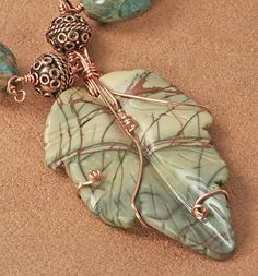 Autumn Leaf - Copper and Jasper Leaf Necklace #Rose of Sharon Jewelry. Love this bold combo. $135
