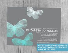 Modern Butterfly Bridal Shower Invitations