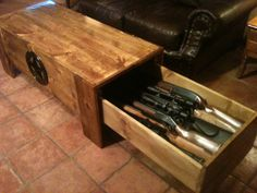Concealed Pine Coffee Table-6 Rifles  this is Very Cool