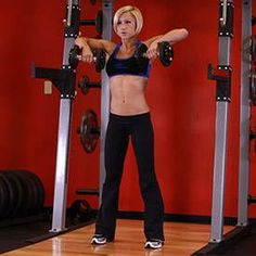 Front Dumbbell Raise Also Known As: Alternating Front Raise Exercise Data Type: Strength Main Muscle Worked: Shoulders Equipment: Dumbbell Mechanics Type: Isolation Level: Beginner Sport: No Force: Push Upper Body Workout For Women, Workout Routines For Women, Workout Guide, Workout Videos, Exercise Videos, Workout Log, Week Workout, Shoulder Workout, Shoulder Exercises