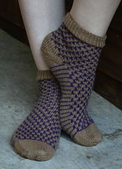 A top-down sock worked in a slip stitch pattern with an afterthought heel.