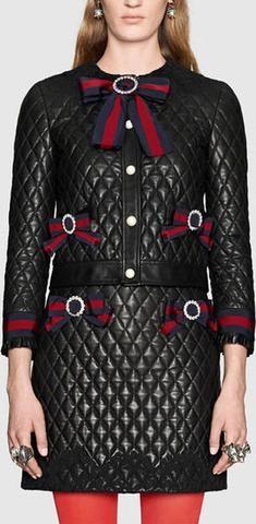 Bow-Embellished Black Diamond Quilted Jacket & Skirt Set