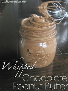 homemade chocolate peanut butter whips-a healthier version of store-bought spread and so easy with only 4 components | suzyhomemaker.net