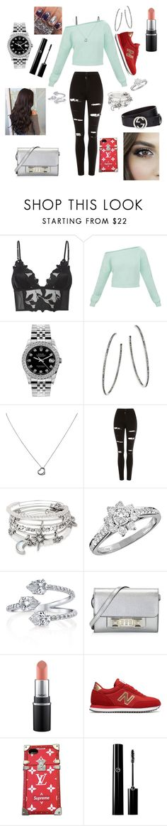 """""""Geen titel #85"""" by xclautjex ❤ liked on Polyvore featuring Fleur du Mal, Rolex, Nina Gilin, Tiffany & Co., Topshop, Alex and Ani, Proenza Schouler, New Balance, Louis Vuitton and Gucci"""