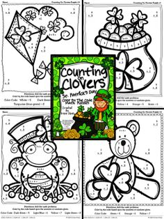 Counting On Clovers ~ St. Patrick's Day Color By The Code Math Puzzles To Practice Number Recognition And Basic Addition Skills ~This Unit Is Aligned To The CCSS. Each Page Has The Specific CCSS Listed.~ This set includes 4 March themed math puzzles to practice math skills. Perfect for Kindergarten and First Grade Remedial Math. $