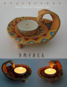 АРТ-КОПИЛКА от HELKI: Детская керамика Paper Clay, Clay Art, Cerámica Ideas, Ceramic Candle Holders, Hand Built Pottery, T Lights, Craft Markets, Crafty Kids, Diy Home Crafts