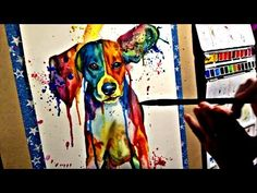 Time Lapse Speed Painting, splashy Beagle colorful watercolor painting tutorial demo by Kate Amedeo