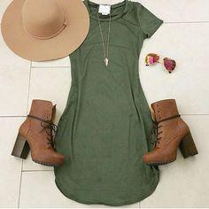 """Olive Tee Dress #bossysnob Credit: @heyitsannabanana ✨www.bossy-snob.com✨"""
