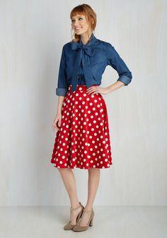 Bugle Boogie Skirt in Red Dots $59.99 AT vintagedancer.com