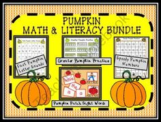 Pumpkin Math and Literacy Centers Bundle from Can You Read It on TeachersNotebook.com (58 pages)  - http://www.teachersnotebook.com/product/CanYouReadIt/pumpkin-math-and-literacy-centers-bundle  Use this 58 paged pumpkin themed file to engage your students in purposeful center practice of the CCSS in both math and literacy! Practice skills like sight wo