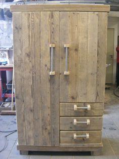 Kledingkast steigerhout met stalen buis handgrepen (22121450)