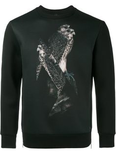 NEIL BARRETT Bird Print Sweatshirt. #neilbarrett #cloth #sweatshirt