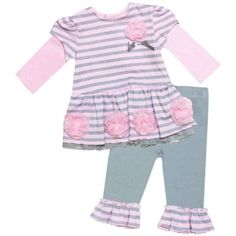2 Piece Stripes & Ruffle Legging Set (Pink/Gray) by Baby Essentials, from Eliza Henry in Archbold, Ohio.