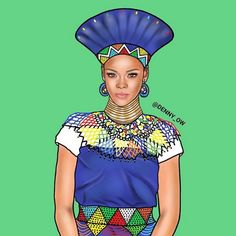 Robyn Rihanna Amahle Fenty Ghanaian Artist Reimagines Nicki Minaj, Beyonce and Other Black Celebrities in Traditional African Dress - LOVE this! African Fashion Designers, African Men Fashion, African Women, Kitenge, African Attire, African Dress, African Outfits, African Clothes, Jay Z