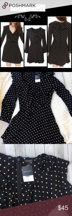 "Topshop Polka Dot Ruffle Minidress🌸 Polka Dot Ruffle Minidress. Polka dots and ruffles add girlish charm to an A-line minidress detailed with a tied keyhole at the V-neck and long, flared sleeves. 35"" length (size 8) Back zip closure V-neck with tie keyhole closure Flared long sleeves NWT fee free to contact me with any questions🌼 Topshop Dresses Mini"