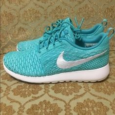 Nike Womens Roshe Run Flyknit Sport Turquoise Nike Womens Roshe Run Flyknit Sport Turquoise White Hyper 704927-300   Women's Size 12  Shoes are new in box guaranteed authentic, purchased directly from Nike store.   *box top not included Nike Shoes Sneakers