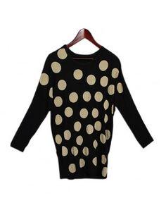 Polka Dot Batwing Sleeve T-shirt