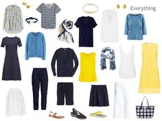 A Four by Four travel capsule wardrobe in navy, white, blue and yellow, for a warm weather vacation