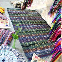 Hand Block Sun Printed Woven Chindi Rag Raug Rugs Recycled Fabric Online
