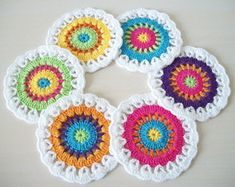 6 porta copos de crochê Mandala