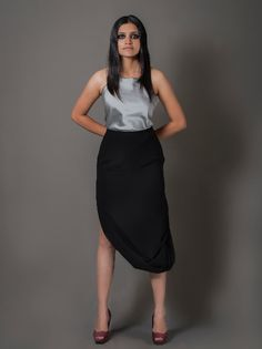 Stun with elegance in this Möbius Skirt by Janaki. Crafted in double crepe and made by twisting and looping the hemline, this uniquely designed skirt is the perfect addition to a classy evening look. Workwear, Hemline, Classy, Elegant, Skirts, Stuff To Buy, Fashion, Moda, Work Wear