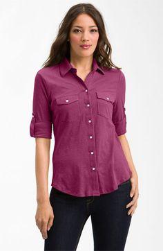 Sandra Ingrish Three Quarter Roll Sleeve Knit Shirt available at #Nordstrom