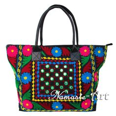Indian Cotton Tote Suzani Art Embroidery Handbag Woman Shoulder Beach Boho Bag # #Unbranded #TotesShoppers