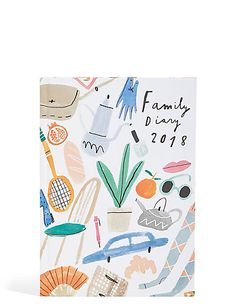 Large Family 2018 Diary - M&S mercedes leon watercolour icons illustration