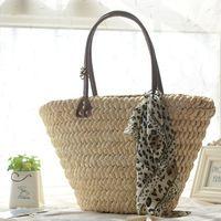 Palha saco de praia mulheres de verão bolsa de palha tecida saco de ombro A1170