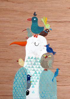 Bird King A4 print by lukaluka