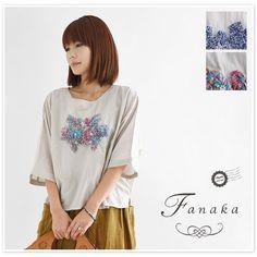 【Fanaka ファナカ】刺し子 刺繍 ドルマン ブラウス (71-2187-107)