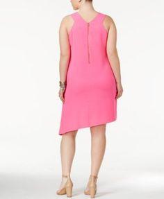 Rachel Rachel Roy Trendy Plus Size Pocketed Asymmetrical Dress - Pink 3X