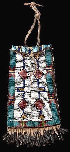 Bag | Sioux Strike-a-Lite Beaded Hide Geometric & Tipi Design
