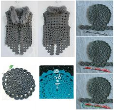 Crochet Fun With circles you can do many things, like the vest . Crochet Square Patterns, Crochet Cardigan Pattern, Crochet Jacket, Crochet Patterns For Beginners, Knitting Patterns, Pull Crochet, Free Crochet, Knit Crochet, Crochet Hats