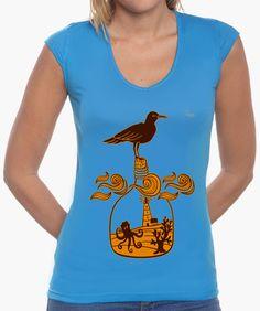 Camiseta Botella B Camiseta mujer, cuello en V  18,90 € - ¡Envío gratis a partir de 3 artículos!