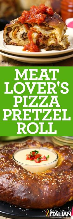 A twist on your favorite pizza that you will dream about!   Meat Lover's Pizza Pretzel Roll is the best of both worlds.  Your favorite pizza recipe rolled into a giant pretzel roll.  Filled with layer after layer of meat lover toppings and ooey gooey cheese.  You need to make this one!
