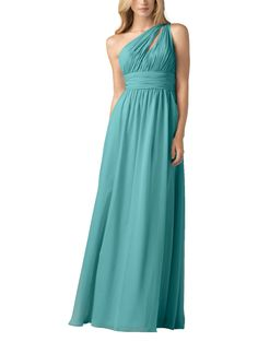 DescriptionWtoo by Watters Style 813Full length bridesmaid dressOne shoulder neckline with keyhole detailRuched waistbandChiffon