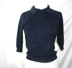 Vintage Silk Sweater  Navy Blue  short sleeves  by FeliceSereno, $35.00