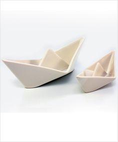 Modern Ceramics Origami Boat Snack Dish