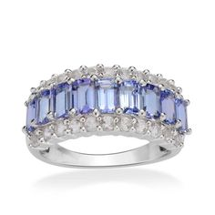 Tanzanite (Oct), White Topaz Ring in Sterling Silver Nickel Free (Size 9.0) TGW 3.550 cts.